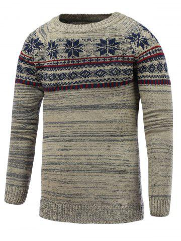 Cheap Crew Neck Christmas Snowflake Jacquard Sweater GRAY 2XL