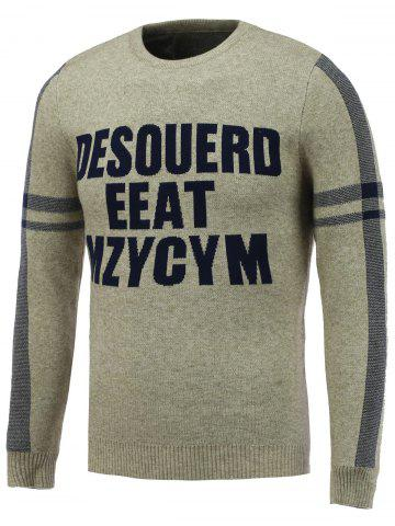 Sale Crew Neck Letter Jacquard Pullover Knitwear