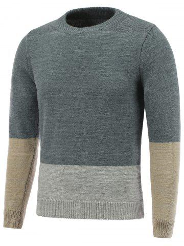 Best Crew Neck Pullover Color Block Sweater LIGHT GRAY 2XL