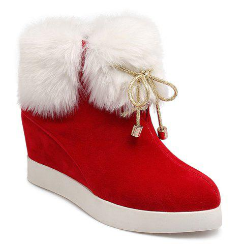 Affordable Wedge Heel Furry Ankle Boots RED 39