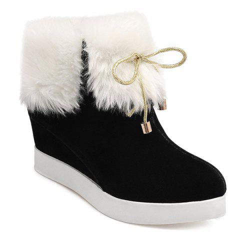 Wedge Heel Furry Ankle Boots - Black - 39