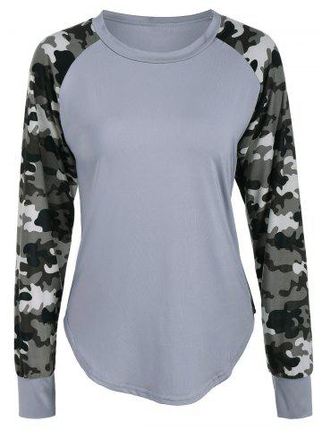 Trendy Raglan Sleeve Camouflage Panel T-Shirt GRAY XL