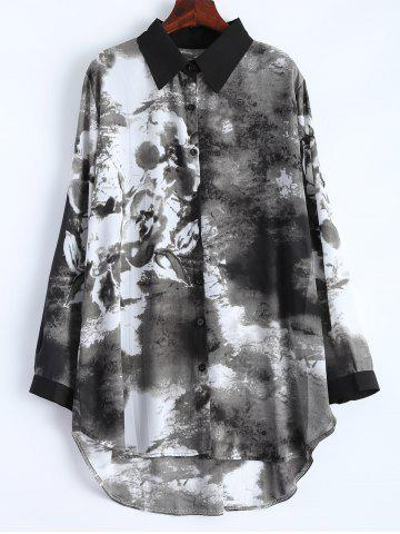 Latest Plus Size Ink Painting Irregular Blouse BLACK 4XL