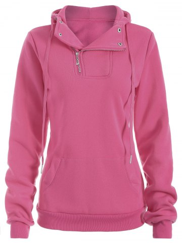 Half Zip Side Kangaroo Hoodie Pocket rose XL