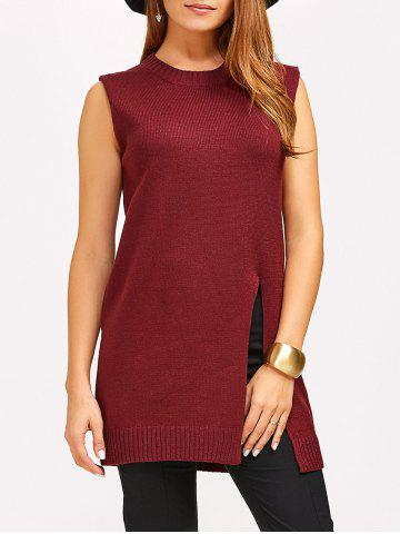 Online Slit Sleeveless Jumper Vest Sweater WINE RED 5XL