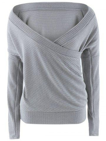 Cheap Plunge Neck Surplice Drop Shoulder Sweater