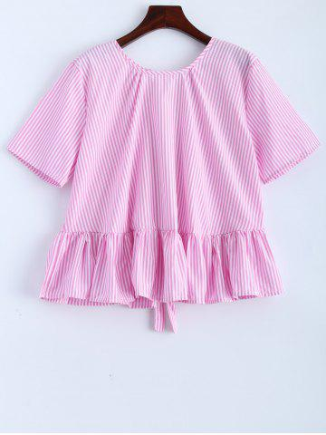 Affordable Ruffle Bowknot Stripe Blouse PINK L