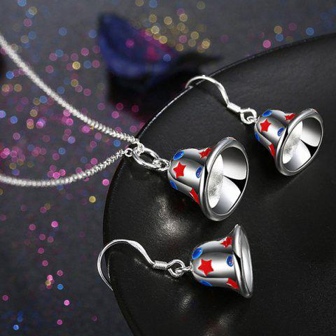 Online Enamel Christmas Bell Jewelry Set - SILVER  Mobile