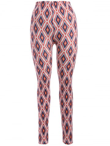 Fashion Skinny Argyle Leggings RED ONE SIZE