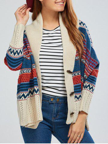 Outfits Batwing Sleeve Striped Jacquard Cardigan BEIGE ONE SIZE