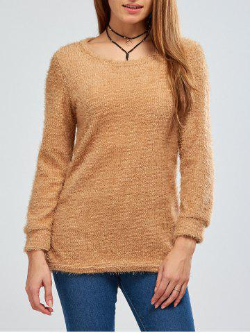 New Fuzzy Knit Pullover Sweater BROWN XL
