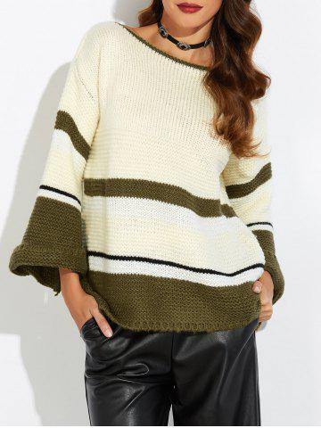 Online Flare Sleeve Striped Jacquard Sweater