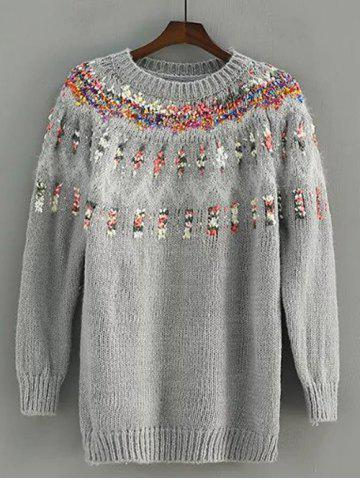 Fashion Floral Embroidered Crew Neck Pullover Sweater
