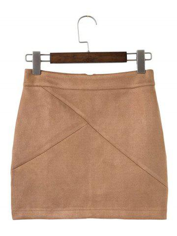 Hot Mini Deerskin Bodycon Skirts BROWN L