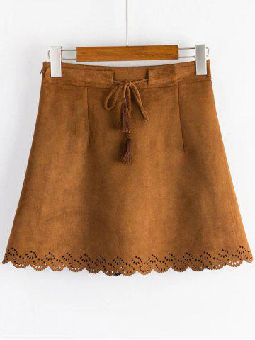 Trendy Drawstring Mini A Line Suede Fabric Dress