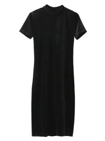 Short Sleeve Velvet Knee Length Dress