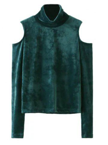 Unique Cold Shoulder Velvet Blouse BLACKISH GREEN L