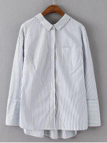 Store Long Sleeve Striped High Low Shirt