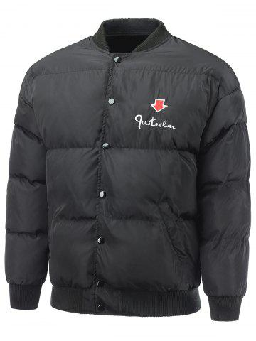 Hot Embroidered Snap Front Padded Jacket