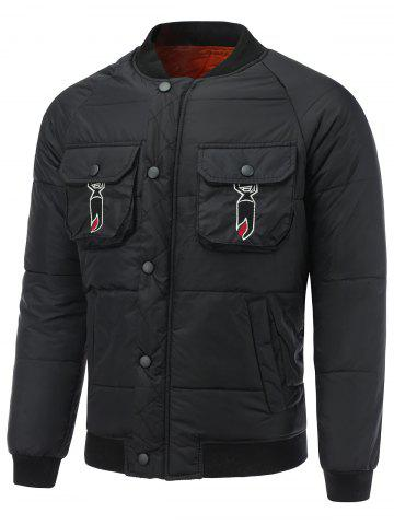 Outfit Multi Pocket Snap Front Embroidered Padded Jacket