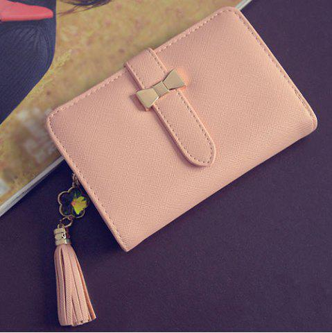 Outfit Strap Tassels Short Wallet - PINK  Mobile