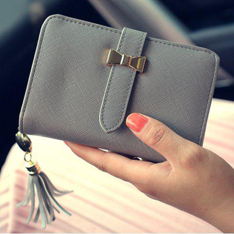 Outfit Strap Tassels Short Wallet - GRAY  Mobile