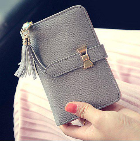 Cheap Strap Tassels Short Wallet - GRAY  Mobile