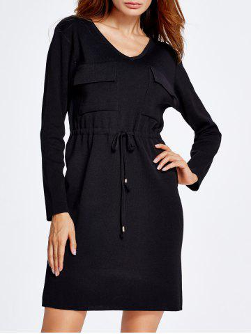 Unique Drawstring Grasp Waist Double Front Pockets Knit Dress
