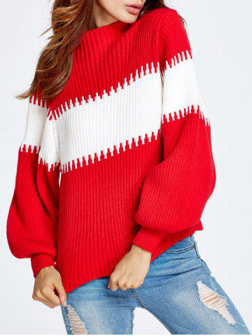 Trendy Puff Sleeve Striped Sweater
