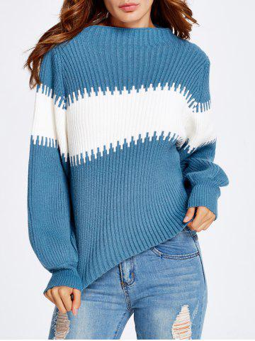 Puff Sleeve Striped Sweater - LAKE BLUE ONE SIZE