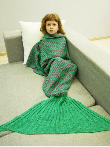 Best Polka Dot Design Bed Sleeping Bag Knitted Mermaid Blanket LIGHT GREEN
