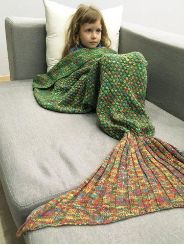 Store Polka Dot Design Bed Sleeping Bag Knitted Mermaid Blanket - RED AND GREEN  Mobile