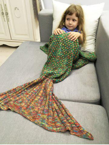 Unique Polka Dot Design Bed Sleeping Bag Knitted Mermaid Blanket - RED AND GREEN  Mobile