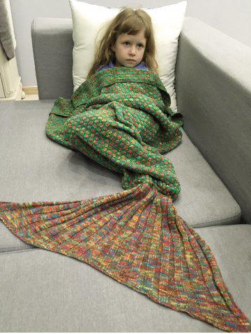 Shop Polka Dot Design Bed Sleeping Bag Knitted Mermaid Blanket - RED AND GREEN  Mobile