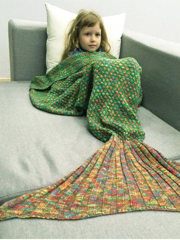 Chic Polka Dot Design Bed Sleeping Bag Knitted Mermaid Blanket - RED AND GREEN  Mobile