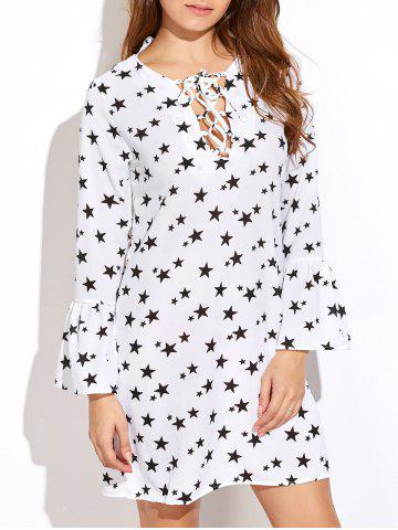 Store Star Print Lace-Up Bell Sleeves Dress WHITE M