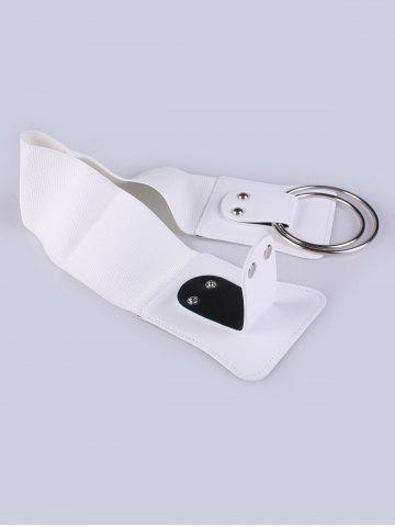 Latest Faux Leather Stretch Belt with Metal Rings - WHITE  Mobile
