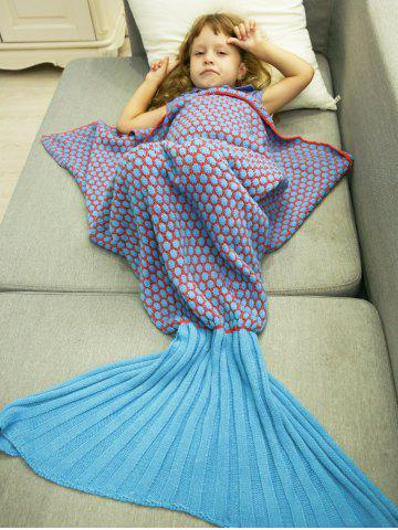 Outfits Thicken Knitted Sleeping Bag Kids Wrap Sofa Mermaid Blanket BLUE