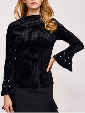 Online Faux Pearl Embellished Flare Sleeve Corduroy Top