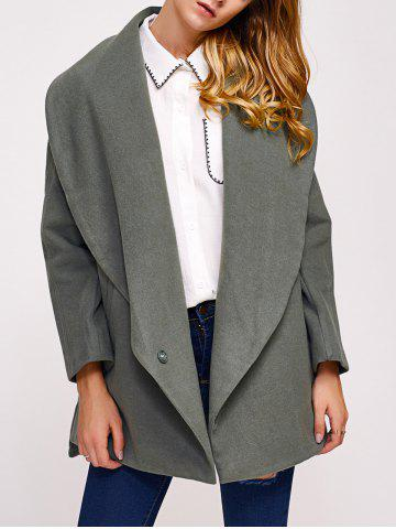 Bouton simple drapé devant Collar Coat Vert Grisâtre M