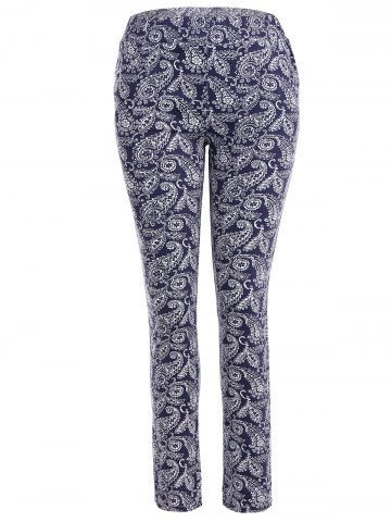Online Skinny Flower Print Leggings DEEP BLUE XL
