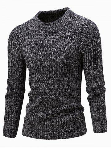 Slim Fit Crew Neck Ribbed Knitted Sweater - BLACK 2XL