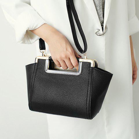 Sale Textured PU Leather Metal Trimmed Handbag BLACK