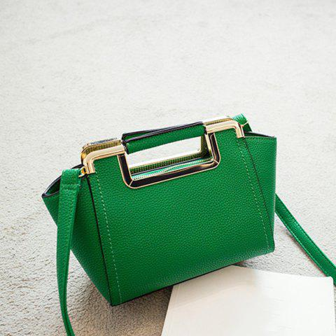 Chic Textured PU Leather Metal Trimmed Handbag GREEN