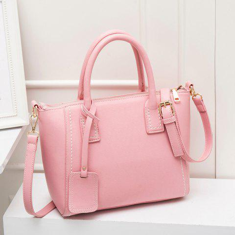 Shop Stitching Pendant PU Leather Tote PINK