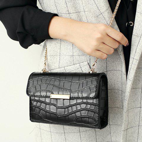 New Chains Crocodile Embossing Crossbody Bag BLACK