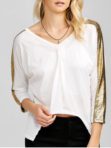 Shop Sequined V Neck Asymmetric Blouse