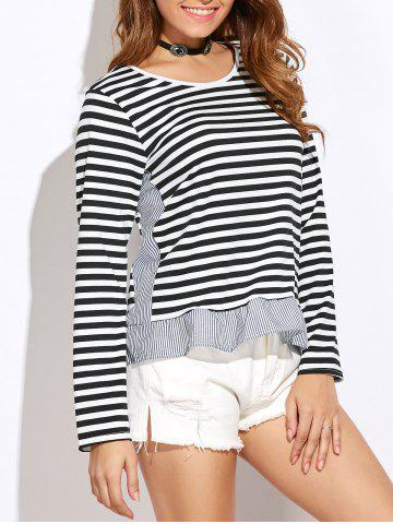 Shops Slim Fit Stripe Peplum Tee WHITE XL