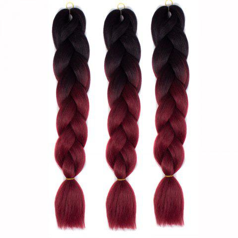 Fancy 1 Pcs Multicolor Ombre High Temperature Fiber Braided Long Hair Extensions BLACK/RED