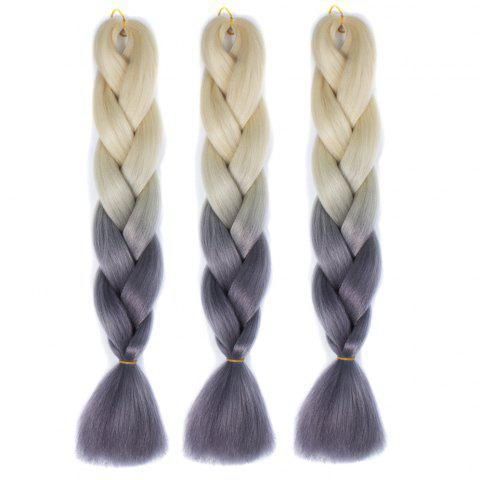 Fashion 1 Pcs Multicolor Ombre High Temperature Fiber Braided Long Hair Extensions - OFF WHITE + GREY  Mobile